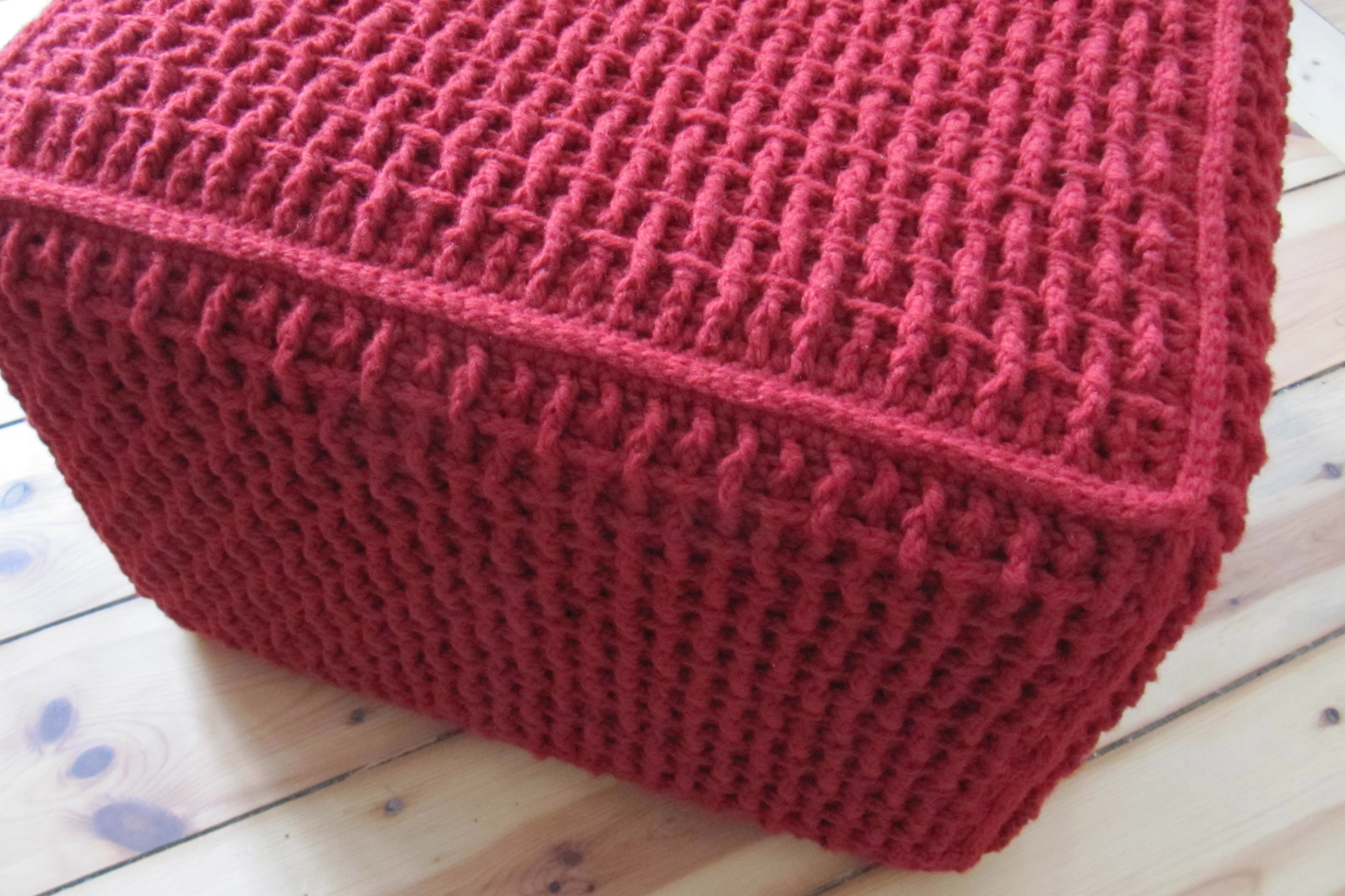 Crochet Ottoman : One square and four rectangles, joint with slip stitches, and a ...