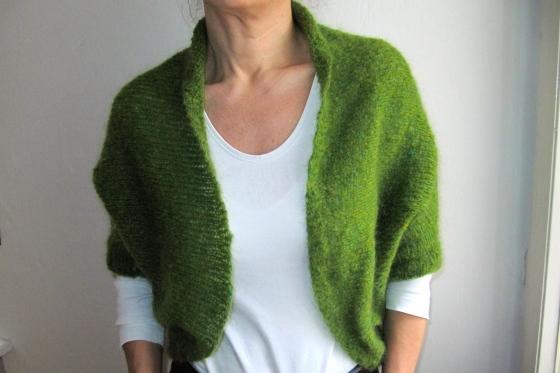knitted green shrug